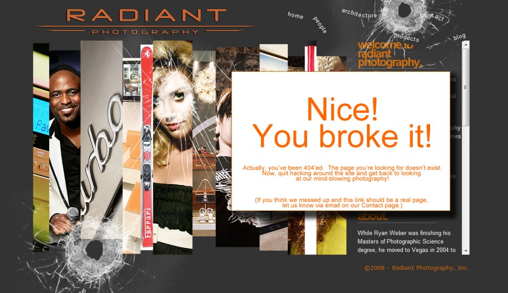 Radiantphotography.com 404 error page